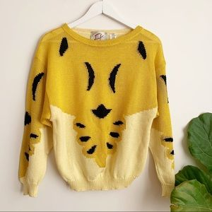 Vtg Yellow Black Sweater Cotton Made in Italy M